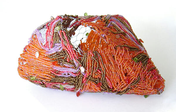 Beaded wire sculpture – Cocoon vessel 2