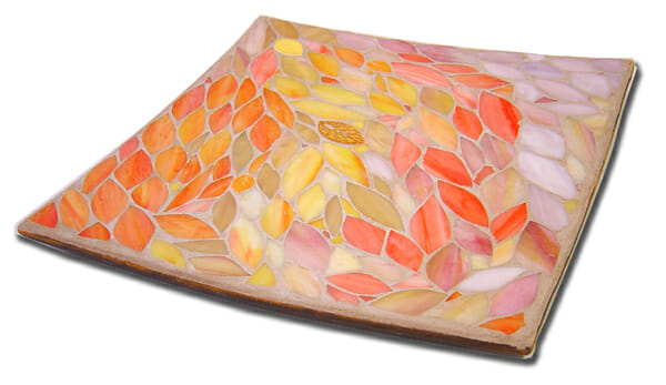 Homeware mosaic platter – autumn leaves