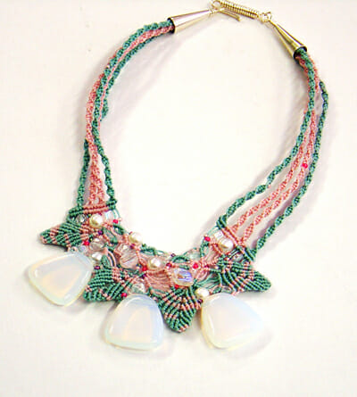 Macrame Autumn leaves necklace