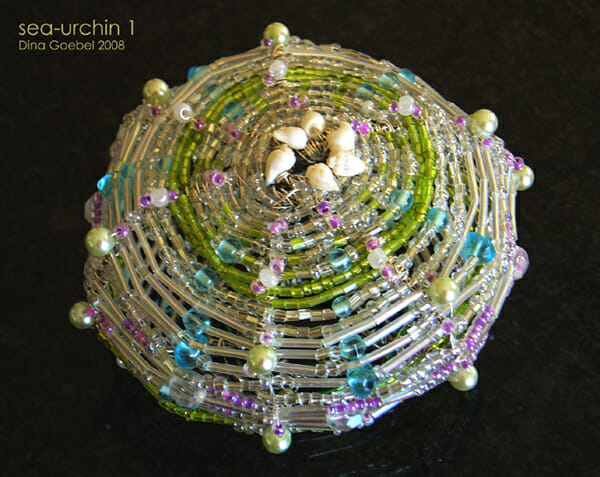 Beaded wire sculpture – Sea Urchin 1