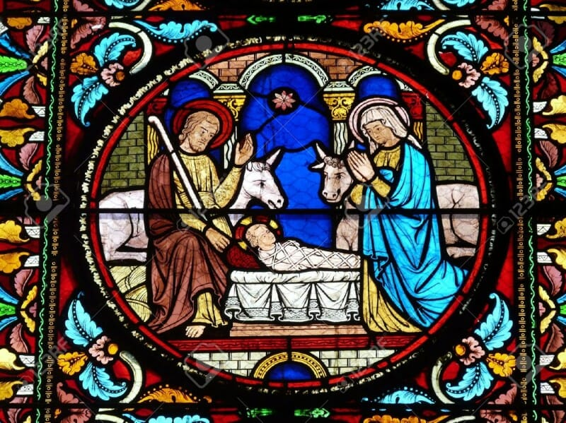 Stained glass window with a Nativity Scene