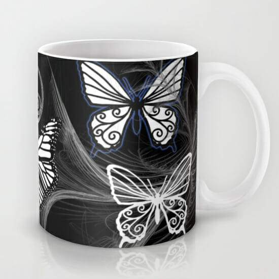 butterfly dreams black - mug