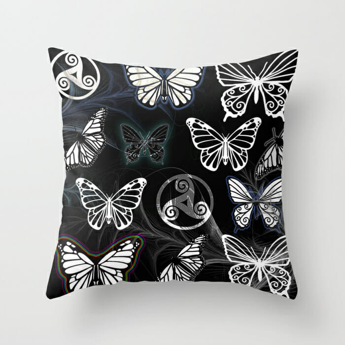 butterfly dreams black - pillow