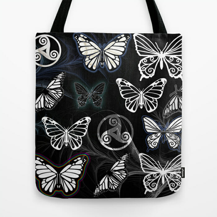 butterfly dreams black - tote