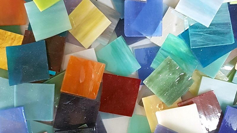 Stained glass mosaic tiles – CLEARANCE 1? x 1? mixed tiles.