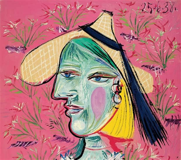 'Woman with Straw Hat on a Floral Background' by Picasso, Rosengart Collection