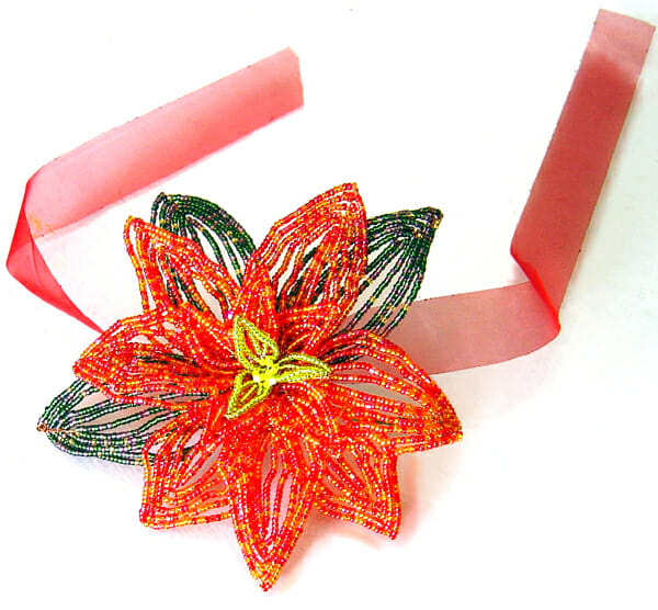 red beaded poinsetta by Dina