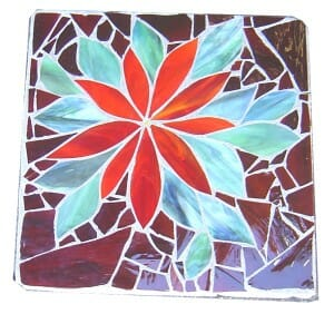 red mosaic stepping stone by Dina