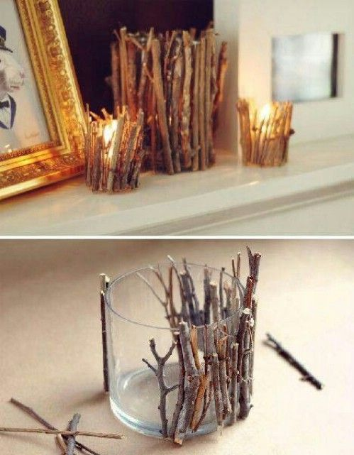rustic DIY twig candles